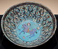Bowl with design of equestrian figure, Iran, Minai type, 12th-13th century AD, enamel-painting over blue glaze pottery - Matsuoka Museum of Art - Tokyo, Japan - DSC07214.JPG