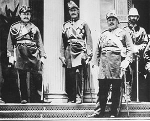 Edward William Purvis - Purvis standing on far right with Hawaiian Army Colonels James Harbottle Boyd, Curtis P. Iaukea and Charles Hastings Judd on the steps of the ʻIolani Palace, 1882