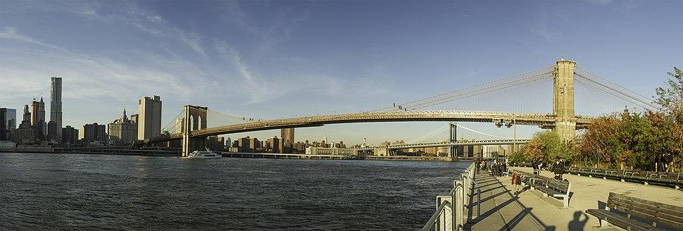 Panorama of Brooklyn Bridge in the daytime