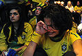 Brazil fans in Johannesburg react to Brazil's loss to Holland in World Cup quarterfinals 2010-07-02 1.jpg