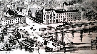 Irvington, New York - The Irvington waterfront between 1859 and 1889, showing the Lord & Burnham Building on the right