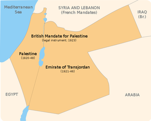 Palestine and Transjordan were incorporated (under different legal and administrative arrangements) into the Mandate for Palestine, issued by the League of Nations to Great Britain on 29 September, 1923.