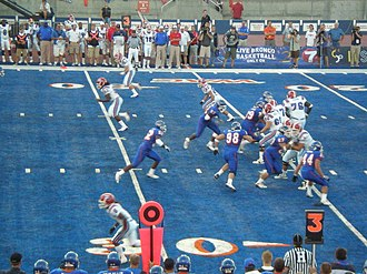 2008 Boise State Broncos football team - Boise State on defense in the first half.
