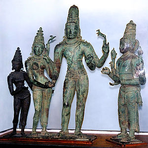 Kalyanasundara - A Chola Kalyanasundara bronze: (from right) Lakshmi, Parvati, Shiva and Vishnu.