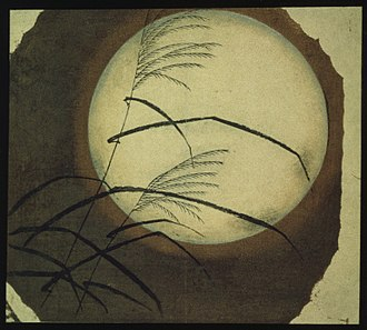 Hiroshige - Wind Blown Grass Across the Moon – by Hiroshige
