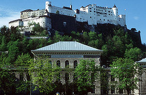 University of Salzburg - University building and Hohensalzburg Castle