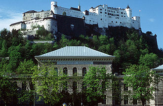 University of Salzburg - University building and Hohensalzburg Fortress