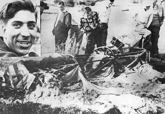 1960 Belgian Grand Prix - The remains of Alan Stacey's car after his fatal accident in the 1960 Belgian Grand Prix. In the inset, Stacey before the race.