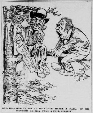 United States Senate election in Ohio, 1898 - January 1898 cartoon warning Bushnell (left) that by cutting off Hanna's political support, he cuts off his own.