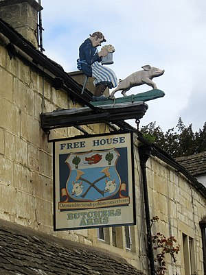 Worshipful Company of Butchers - The arms used on an inn sign in Sheepscombe, Gloucestershire