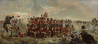 Elizabeth Thompson: The 28th Regiment at Quatre Bras. Das Gemälde zeigt ein britisches Carré in der Schlacht bei Quatre-Bras. (Quelle: Wikimedia)