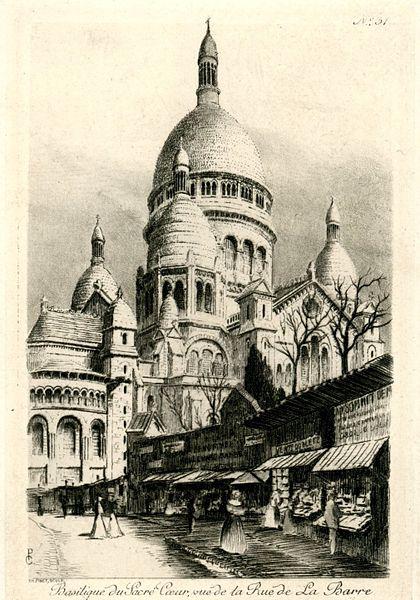 Fichier:CH PINET SCULP n° 31 Basilique du Sacré Coeur, vue de la Rue de la Barre.jpg