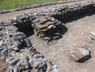 Caister Roman Site - A detail of part of the remaining building structure at Caistor