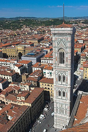 Giotto's belltower (campanile) in Florence, Italy.