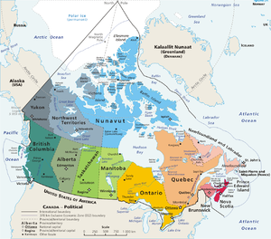 Geopolitical map of Canada