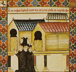 Hórreo - Illustration from a manuscript of the Galician Cantigas de Santa Maria (c. 1280)