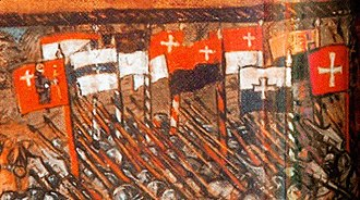 Flag of Switzerland - Ten cantonal war flags carried in the Battle of Nancy (1477) in the depiction of the Luzerner Chronik of 1513. All flags of the Eight Cantons are shown, but the flags of Berne and Uri omit the heraldic animal, showing only the cantonal colours. In addition, the flags of Fribourg and Solothurn are shown, at the time not yet full members, who would join the confederacy in the aftermath of this battle. Each flag has the confederate cross attached.