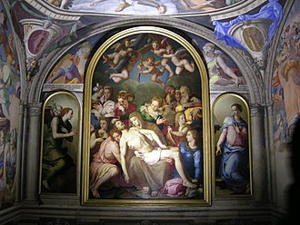 Deposition of Christ (Bronzino) - Altar wall of Eleonora's Chapel showing the second version of the Deposition, side panels of the Annunciation, and frescoes.