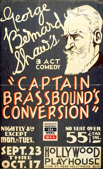 Avalon Hollywood - 1937 poster for the Federal Theatre Project production of George Bernard Shaw's Captain Brassbound's Conversion at the Hollywood Playhouse