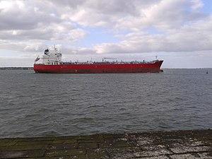 Ringsend - Cargo ship leaving dublin port