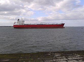 Ringsend - Cargo ship leaving dublin port