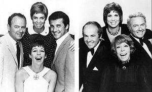 The Carol Burnett Show - On the left, cast members in 1967 (clockwise from the bottom): Burnett, Harvey Korman, Vicki Lawrence, and Lyle Waggoner, on the right, the 1977 cast: Burnett, Tim Conway, Lawrence, and Korman