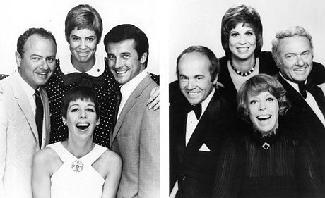On the left, main cast members in 1967 (clockwise from the bottom): Burnett, Harvey Korman, Vicki Lawrence, and Lyle Waggoner, on the right, the 1977 cast: Burnett, Tim Conway, Lawrence, and Korman