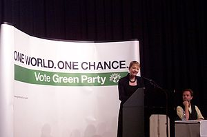 Rupert Read - Caroline Lucas giving a keynote speech, with Rupert Read looking on, at the autumn conference of the Green Party of England and Wales, Hove, 2006