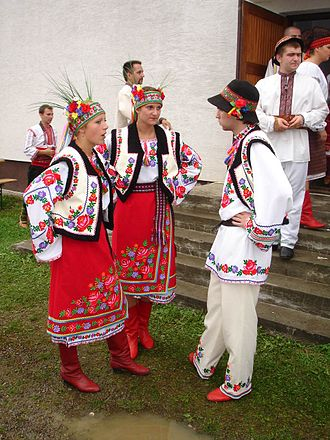 Rusyns - Image: Carpatho Rusyn sub groups Przemyśl area Ukrainians in original goral folk costumes