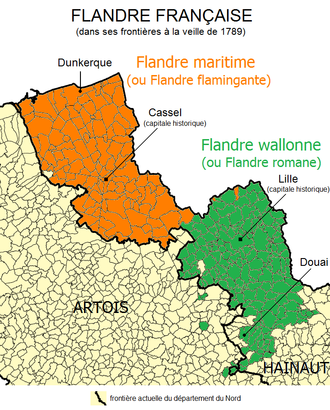 French Flanders - Romance (green) and Germanic (orange) language dialects in French Flanders circa 1789