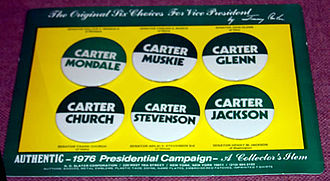 John Glenn - Buttons of Carter's options for vice president