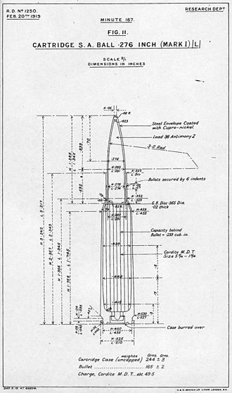 .276 Enfield - Drawing of the (Experimental) Cartridge S.A. Ball .276 inch Mark I L