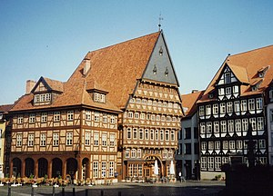 Historic Market Place, Hildesheim - Bakers' Guild Hall (left),Butchers' Guild Hall (middle), Old Tavern (right).