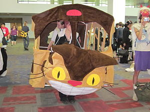 Catbus cosplay (next to San taking a picture) at FanimeCon in 2010.
