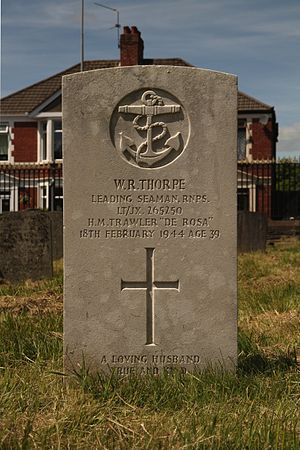 Royal Naval Patrol Service - Grave in Cathays Cemetery, Cardiff of an RNPS Leading Seaman from HMT De Rosa