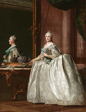 1764 in art - Image: Catherine II in front of a mirror by Vigilius Eriksen (1762 4, Hermitage)