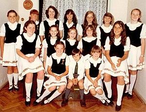 Alumnos de una escuela de danza irlandesa en argentina