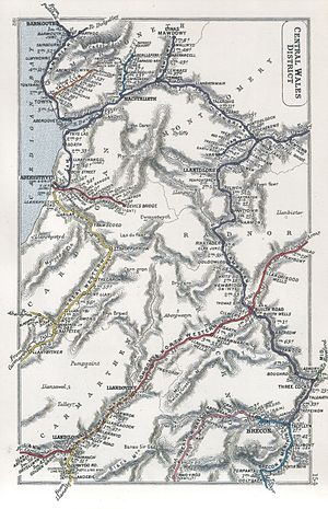 Van Railway - A 1912 Railway Clearing House map showing railways in Central Wales, including the Van Railway (upper right)