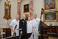 Chairman of the Joint Chiefs of Staff U.S. Army Gen. Martin E. Dempsey poses for a photo with members of the U.S. Navy Band during a reception for foreign defense attaches June 11, 2013, at the Department 130611-D-HU462-369.jpg
