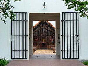 Selarang Barracks incident - The main entrance leading to the Changi Chapel and Museum at Upper Changi Road North, Singapore. In the background lies the replica of the Changi Chapel