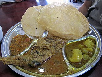 Mutton curry - Image: Chapati and mutton curry