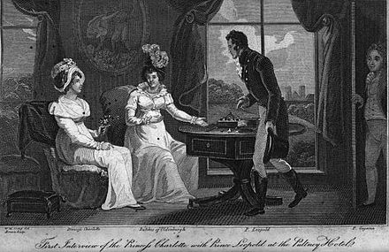 Artist's impression of the first meeting between Princess Charlotte (left) and Prince Leopold (in front of window, with Grand Duchess Catherine Pavlovna of Russia and the Russian Prince Nikolai Gagarin) Charlotte meets Leopold.jpeg