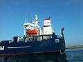 Chateau,cheminée du navire ro-ro AKNOUL au port de Casablabca.jpg