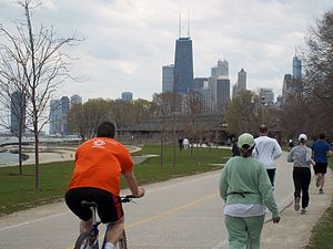 Shared use path - Share-use path with running track in Chicago