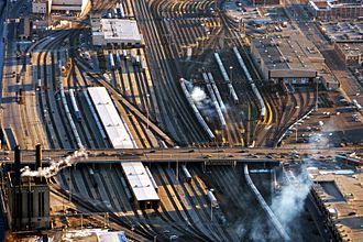 Rail yard - A large Amtrak and Metra coach yard in Chicago, IL. About 25 percent of all rail traffic in the United States travels through the Chicago area.