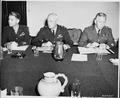 Chiefs of Staff, L to R, Maj. Gen. Lauris Norstad, Gen. Henry H. Arnold, and Gen. George C. Marshall at a meeting... - NARA - 198834.tif