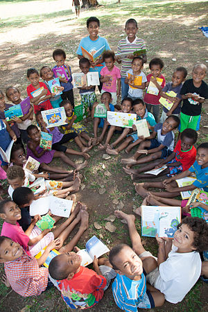 Pickaninny - In Papua New Guinea, pikinini is not derogatory and is used as the word for child. Here PNG children are seen at Buk bilong Pikinini (Books for Children) in Port Moresby, an independent not-for-profit organisation  which aims to establish children's libraries and foster a love of reading and learning.