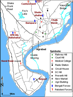 Operation Searchlight - Operation Searchlight: Location of Pakistani targets in Chittagong on 25 March 1971. Map is not to exact scale.