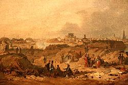 Ferdinand de Braekeleer: Gezicht op het bolwerk van Antwerpen na de beschieting van 1832