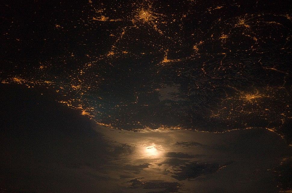 City Lights at Night along the France-Italy Border